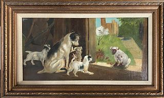 Aaron Bohrod - Dogs by the Window Sill