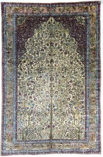 Silk Mohtasham Kashan Rug, 6'6'' x 9'8''