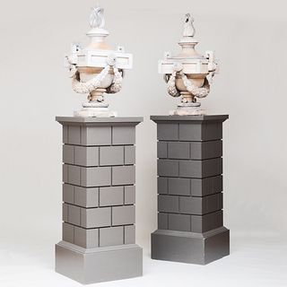 Fine Pair of Painted Flaming Zinc Urns on Rusticated Pedestals