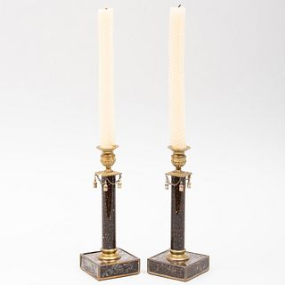 Pair of Regency Style Ormolu Mounted Faux Marble Candlesticks