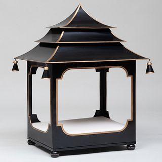 Black Painted and Parcel-Gilt Tôle Dog House, of Recent Manufacture
