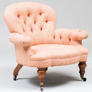 Victorian Style Mahogany and Animal Print Tufted Upholstered Armchair