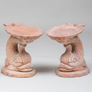 Pair of Terracotta Dolphin and Shell Form Garden Seats