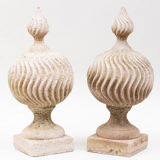 Pair of English Cast Stone Garden Finials