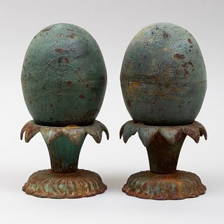 Pair of Victorian Painted Cast Iron Garden Ornaments