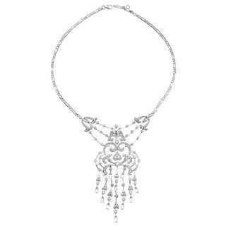 GARGANTILLA CON DIAMANTES EN ORO BLANCO DE 18K Y 14K  con diamantes corte brillante y briollette ~8.38 ct | CHOKER WITH DIAMONDS IN 18K AND 14K WHITE