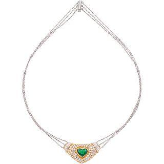 GARGANTILLA CON ESMERALDA Y DIAMANTES EN ORO BLANCO Y AMARILLO DE 18Kcon una esmeralda corte corazón~2.0ct y diamantes distintos cortes | CHOKER WITH