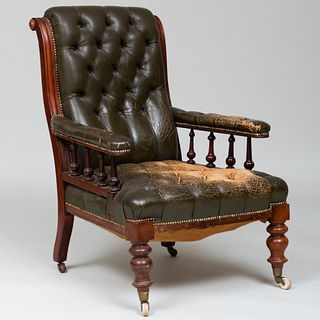Early Victorian Leather Tufted Upholstered Armchair