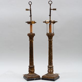Pair of Giltwood Columnar Form Table Lamps