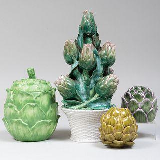 Group of Four Artichoke Form Ceramic Articles