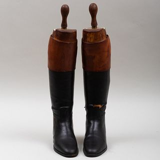 Pair of Custom Peal & Co. Leather Riding Boots and Pair of Custom J.C. Cording & Co. Waterproof Leather Riding Boots