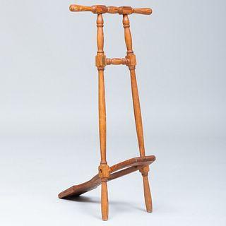 Victorian Style Oak Boot Jack, Horace Batten Hunting Boot Maker, Ravensthorpe, Northampton