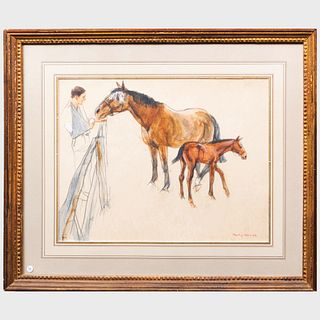 Henry Koehler (1927-2018): Reflection and Foal, II (HRH the Prince of Wales at Highgrove)