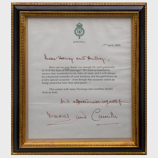 Framed Thank You Letter from Prince Charles and Camilla Duchess of Cornwall