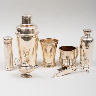 Tiffany & Co. Silver Cocktail Shaker and a Group of Silver and Silver Plate Wares
