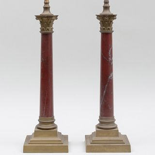 Pair of Gilt-Metal-Mounted Marble Columnar Table Lamps