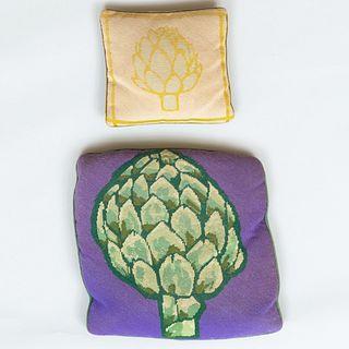 Two Needlework Pillows of Artichokes