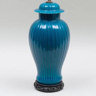 Contemporary Blue Glazed Porcelain Table Lamp