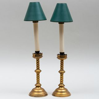 Pair of Gothic Brass Candlesticks with Tôle Shades
