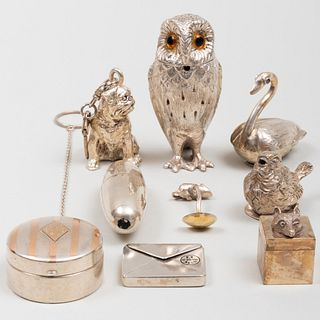 Group of Seven Silver Table Articles, Some of Bird Form