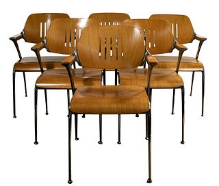 (Attributed to) Francesco Zaccone for Brunner 'Golf' Wood and Metal Chairs