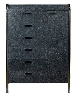 MCM Style Faux Marble and Chrome Dresser