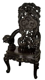 Japanese Carved Dragon Chair