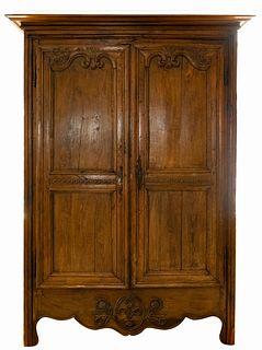 French Provincial Oak Armoire