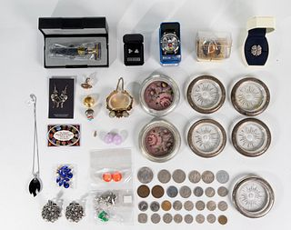 Silver and Costume Jewelry, Wrist Watches, Silver Hollowware and Coin Assortment