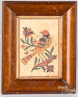 Pen and ink fraktur bird on a tulip branch