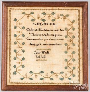 Needlework sampler verse, dated 1816