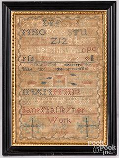 Chester County, Pennsylvania needlework sampler