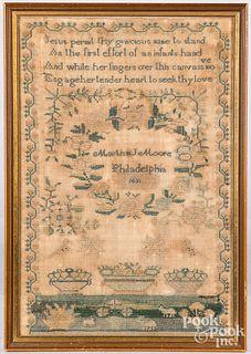Philadelphia needlework sampler, dated 1831
