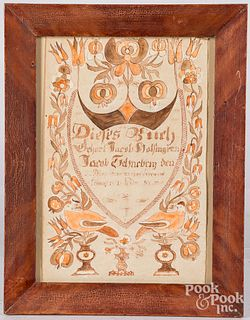 Spurious pen and ink fraktur bookplate, dated 1801