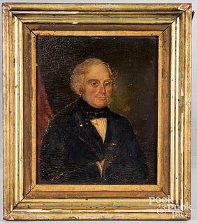 Oil on canvas portrait of gentleman, 19th c.