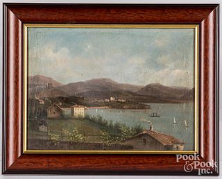 Oil on canvas harbor scene, 19th c.