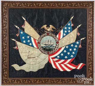 Good South Pacific patriotic needlework, ca. 1900