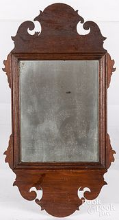 Diminutive Chippendale mahogany looking glass