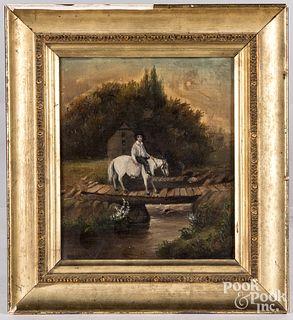 Oil on canvas landscape, 19th c.