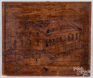 Incised folk art pine panel, ca. 1900