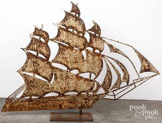 Large sheet iron sail ship weathervane, 20th c.