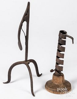 Wrought iron rush lamp, early 19th c.