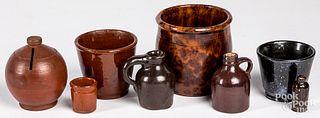 Eight pieces of miniature Pennsylvania redware