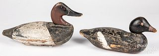 Two carved and painted duck decoys, early 20th c.