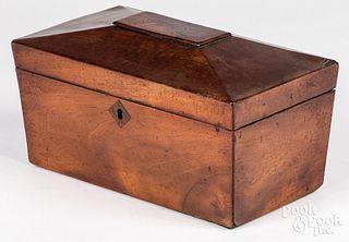 Regency mahogany tea caddy, 19th c.