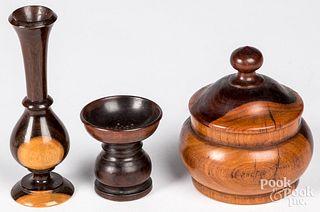 Three pieces of treenware, 19th c.