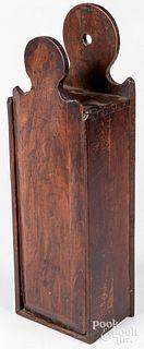 Walnut slide lid candle box, 19th c.