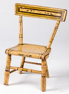 Painted pine plank seat doll chair, 19th c.