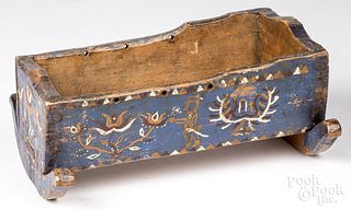 Painted pine doll cradle, 19th c.