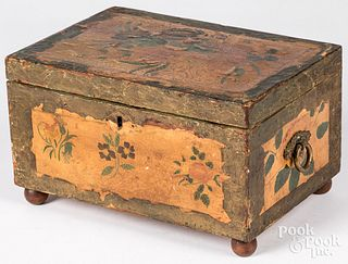 New England paper covered dresser box, 19th c.